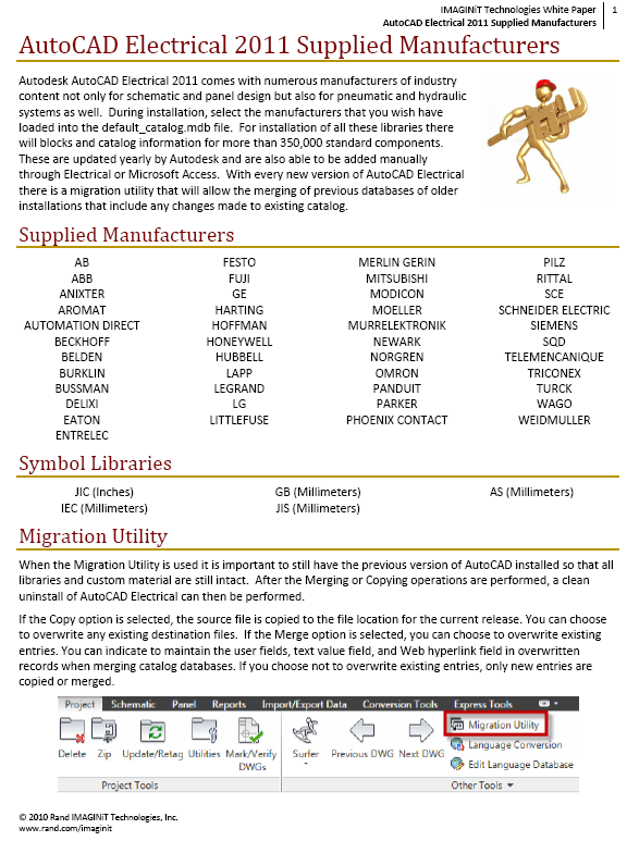 AutoCAD Electrical: Supplied Manufacturers and Libraries ...