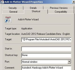 2012 addplwiz Shortcut Properties