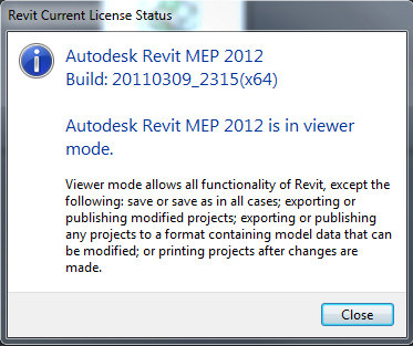 Revit viewer mode license