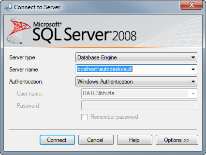 Full sql or express sql that is the question imaginit this will load the autodeskvault instance in sql management studio sciox Gallery