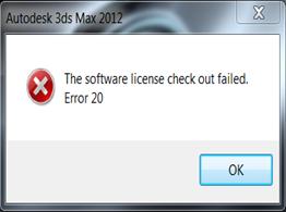 Autodesk Entertainment Creation Suite 2012 license error 20