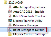 Acad 2012 Reset Setting to default