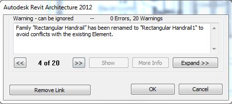 Revit 2012 warning message