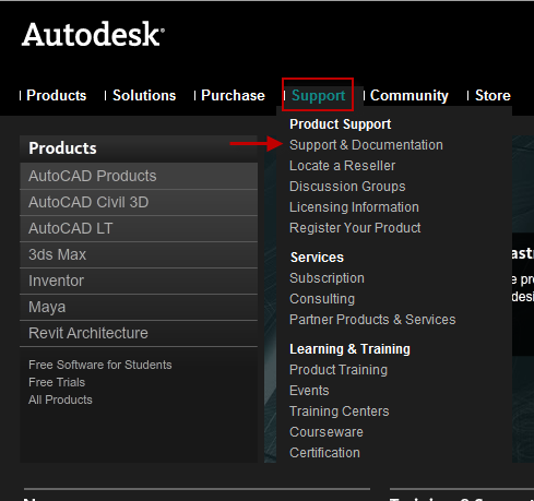 Autodesk support menu