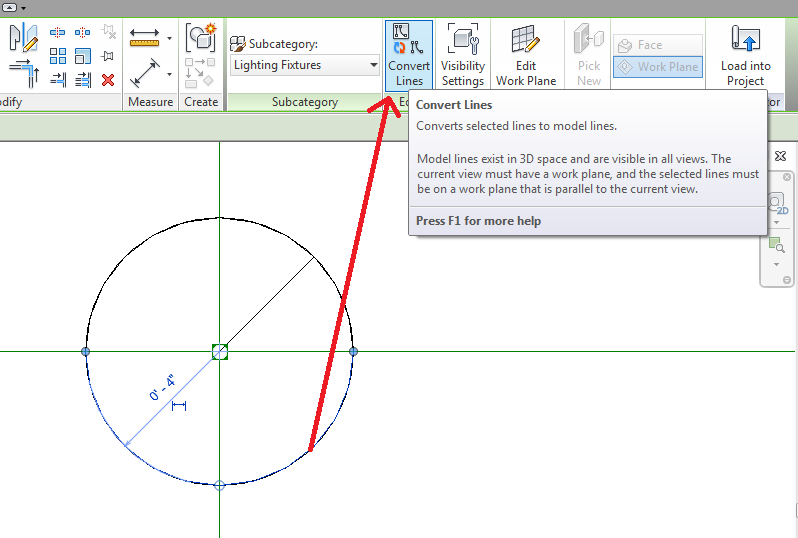 Revit: Trying to add symbolic lines to light fixtures for floor plan