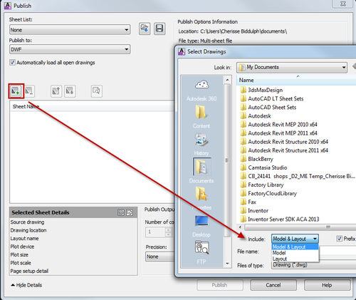 AUTOCAD_PUBLISH DIALOG BOX