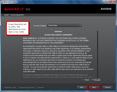 AutoCAD LT seems to stall during setup at the License