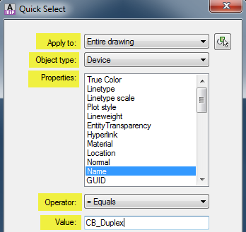 ACAD_MEP_QUICK SELECT PROPERTIES
