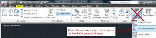 ACAD MEP_COMPONENT INSERT TAB