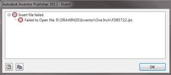 Resolving Inventor Publisher 'Insert File Failed' Error