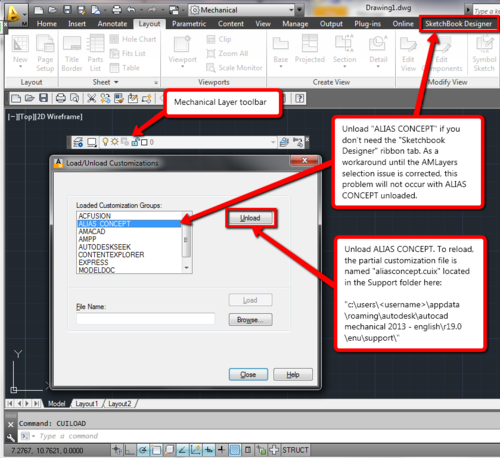 how to change the command alias editor in autocad 2013