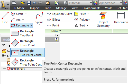 Center Point Number >> Inventor 2013 Center Point Rectangle Standard And Custom