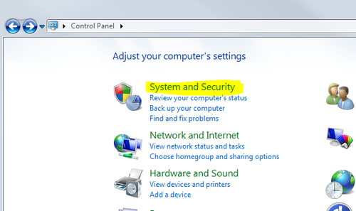 CONTROL PANEL_SYSTEM AND SECURITY
