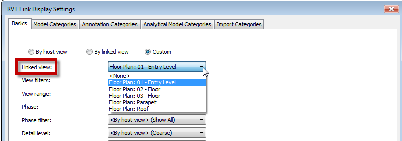 REVIT SET LINKED VIEW