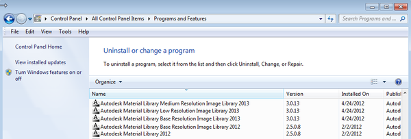 Revit 2013: The Autodesk Material Library 2013 did not install
