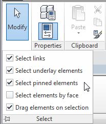 Selection options ribbon