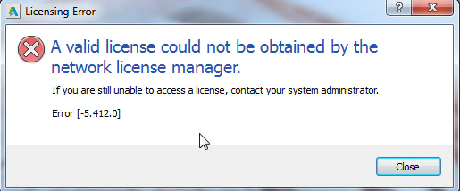 Licensing error: A valid license could not be obtained by