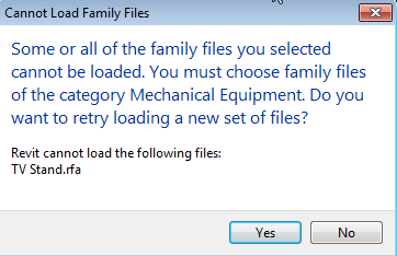 REVIT CANNOT LOAD FAMILY FILES