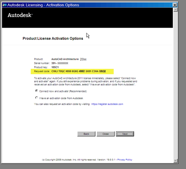 Autodesk Activation: Product will not activate with