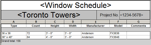 Window schedule formatted