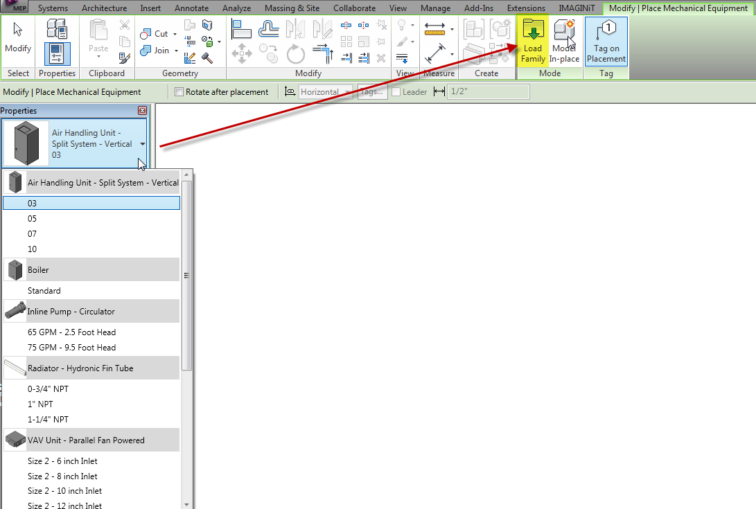 Revit families how to know where to load a family imaginit revit place mechanical pronofoot35fo Image collections