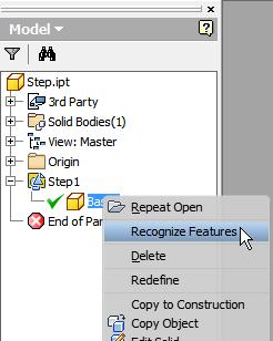 Recognize Features in menu