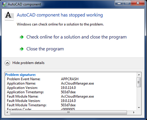 Autodesk component has stopped working