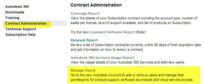 Autodesk 360 Manage users