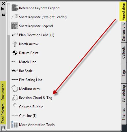 Document palette annotation tab