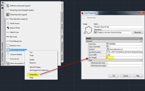 Tool properties arc length