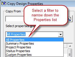 Copy Design Properties Dialog-Filter