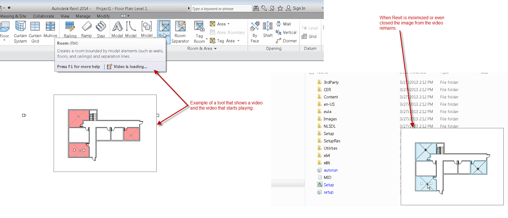 Revit: Ribbon tooltip video will not close after moving the cursor