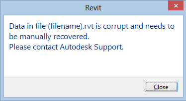 Revit data in file error