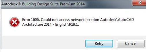 Installation error 1606  Could not access network location