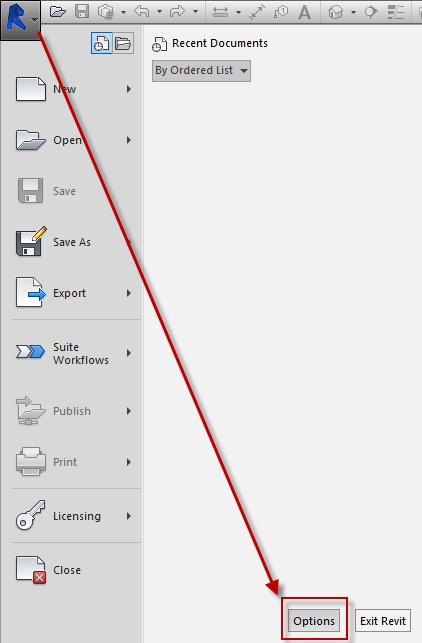 Revit application menu