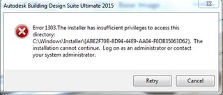 2015 installation error 1303