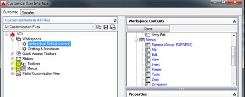 Cui workspace menus toolbars
