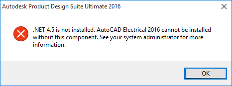 Autodesk ErrorNET 45 is not installed when attempting to install Autodesk 2016 products on Windows 10