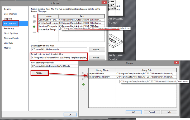 Revit options dialog box