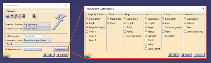 Measure Dialog Box