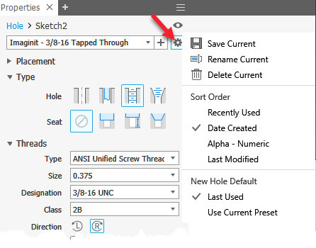 Using the New Autodesk Inventor 2019 Hole Presets - IMAGINiT