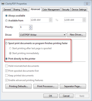 Advanced printer settings