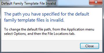 Revit template error