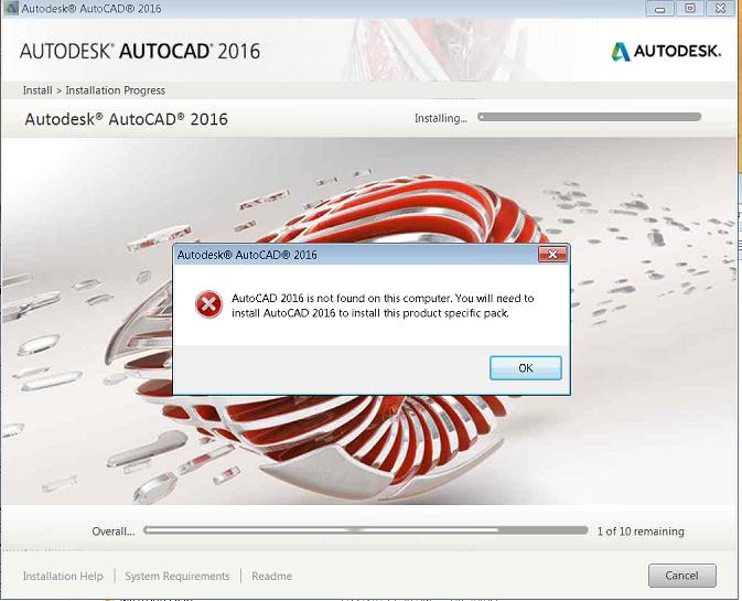 AutoCAD Yükleme hatası: AutoCAD 2016 bu bilgisayarda bulunamadı