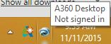 A360 task tray signin