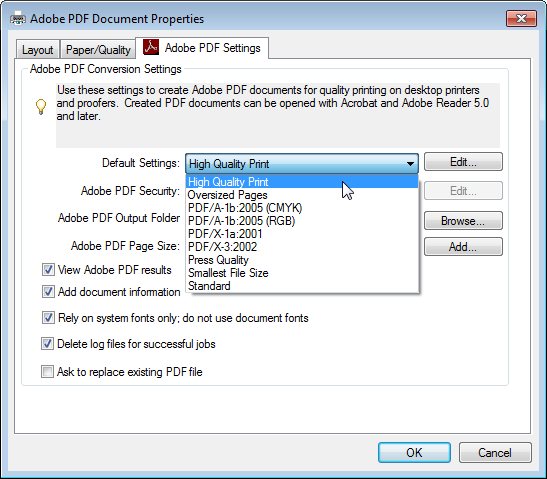 Adobe PDF Print settings