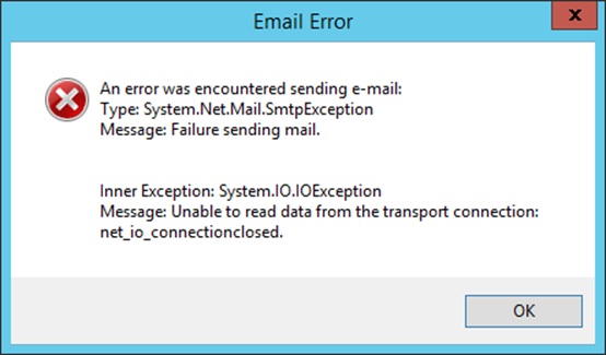 An error was encountered sending email - from Vault Server