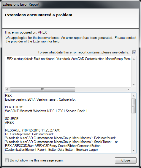 Civil 3D Error Rex startup failed when launching AutoCAD Civil 3D