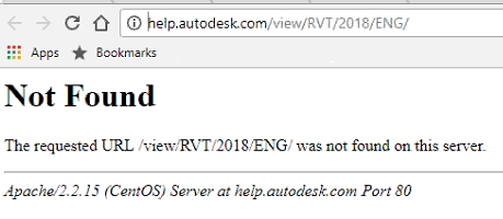 Error Messages HTTP 404 Not Found And The Requested URL View RVT 2018 ENG Was On This Server