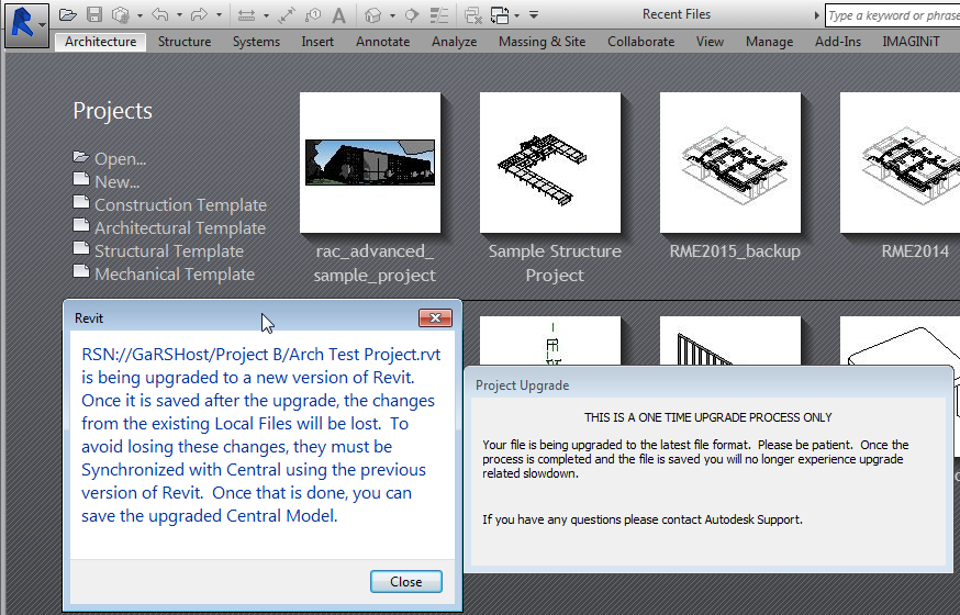 Revit Server: Alternate Project Upgrade Process - IMAGINiT ...
